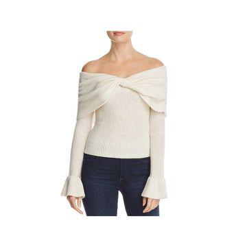 Ella Moss Womens Sweater Wool Blend Off-The-Shoulder