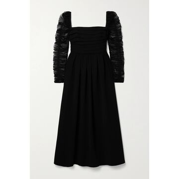 SELF-PORTRAIT - Pleated Crepe And Ruched Polka-dot Flocked Tulle Midi Dress - Black