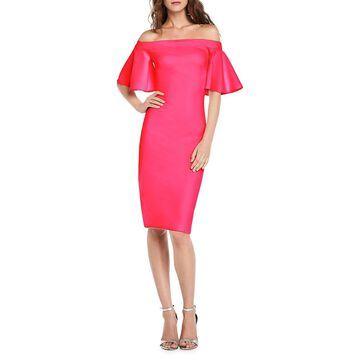 THEIA Off-The-Shoulder Crepe Midi-Dress