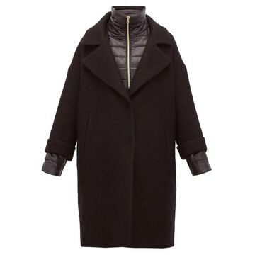 Herno - Layered Padded Gilet And Wool Blend Overcoat - Womens - Black