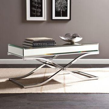 Southern Enterprises Ava Mirrored Cocktail Table in Chrome