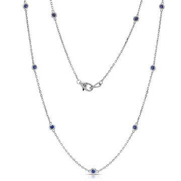Noray Designs 14k White Gold 1ct TGW Blue Sapphire by the Yard 10 Station Necklace