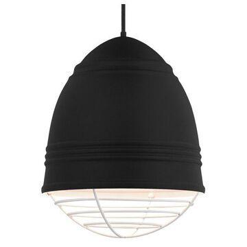 Loft Grande Rubber Black Pendant, E26 LED A19 11W 2700K 120V, White