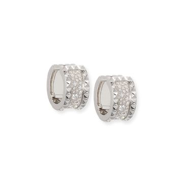 ROBERTO COIN ROCK & DIAMONDS 18K White Gold Huggie Earrings with Diamonds