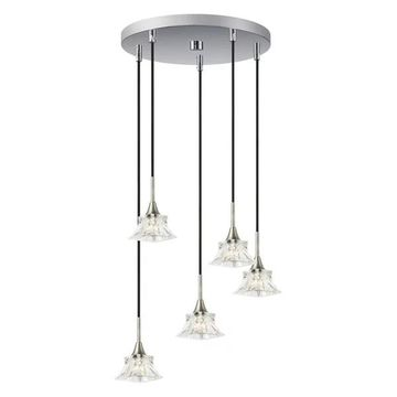 Woodbridge Lighting Christina Cluster Pendant, Nickel/Nickel