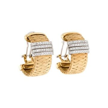 18K Diamond Woven Earrings yellow