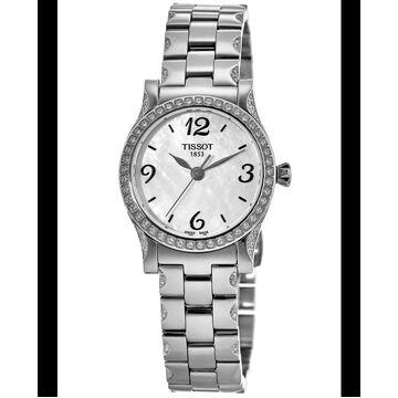 Tissot T-Classic Stylis-T Mother of Pearl Dial Diamond Steel Women's Watch T028.210.11.117.00 T028.210.11.117.00