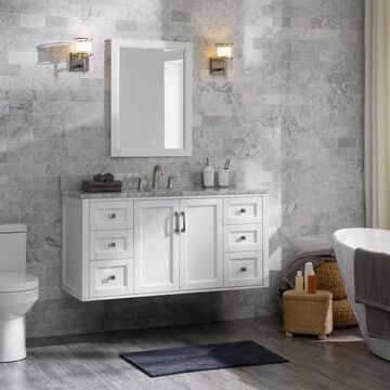 allen + roth Floating 48-in White Undermount Single Sink Bathroom Vanity with Natural Carrara Marble Top   1315VA-48-201