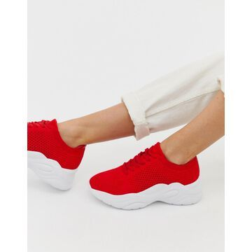 London Rebel knitted lace up runner sneakers-Red