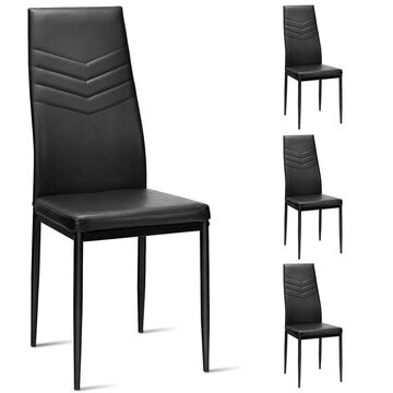 Goplus Set of 4 Contemporary/Modern Upholstered Dining Side Chair (Metal Frame) in Black | OGY02499