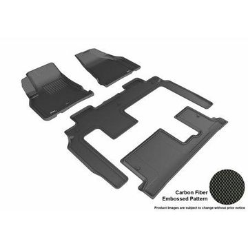 3D MAXpider 2008-2017 Buick Enclave Bench Seating Front, Second, & Third Row Set All Weather Floor Liners in Black with Carbon Fiber Look