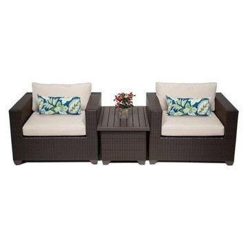 TK Classics Belle 3-Piece Outdoor Wicker Sofa Set, Beige