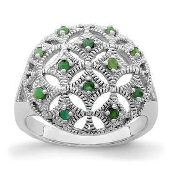 Sterling Silver Rhodium-plated Emerald Circle Ring by Versil (6)
