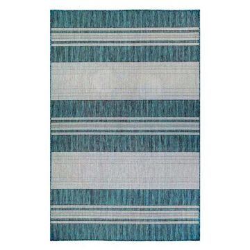 Trans Ocean Carmel Stripe 8435/94 Solid Color Outdoor Rug, Teal, 6'6
