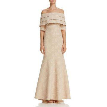 Eliza J Womens Metallic Off-The-Shoulder Evening Dress