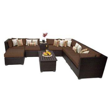 TK Classic Barbados 10-Piece Outdoor Wicker Sofa Set, Cocoa
