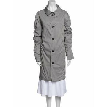 Plaid Print Trench Coat Grey