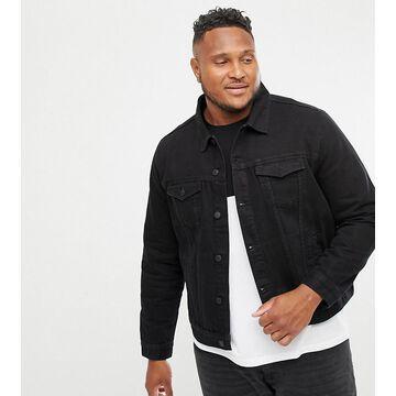 New Look Plus denim western jacket in black