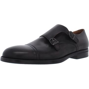 Bruno Magli Mens Barone Monk Shoes Leather Cap Toe - Dark Brown Leather