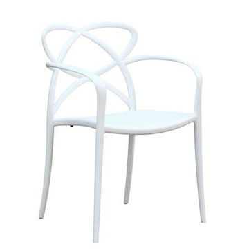 Fine Mod Imports Script Dining Chair, White