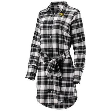 Iowa Hawkeyes ZooZatz Women's Warm Up Flannel Button-Up Dress - Black