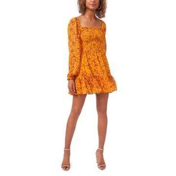 1.state Square Neck Smocked Bodice Dress