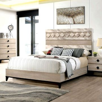 Furniture of America Sown Transitional Beige Panel Bed