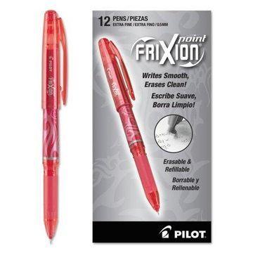 Pilot FriXion Point Erasable Gel Ink Stick Pen, Red Ink, .5mm, Dozen