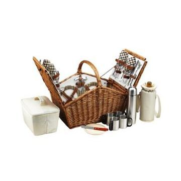 Picnic at Ascot Hunstman English Style Willow Picnic, Coffee Basket for 4