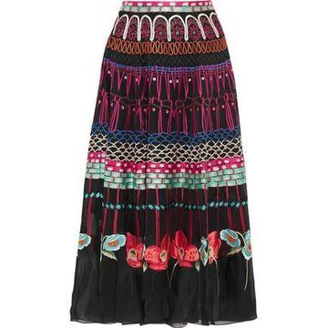 Temperley London Aura Embroidered Silk-organza Skirt