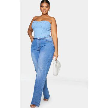PrettyLittleThingPlus Mid Blue Wash Long Leg Straight Jean