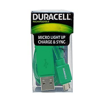 Duracell Light Up Micro USB Cable, 3', Green, LE2247