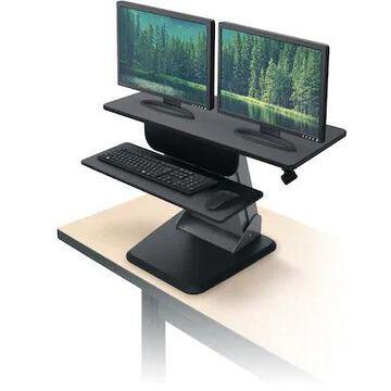 Balt Desktop Riser Sit to Stand Workstation, Black, 21.5 - 36.7H x 35.5W x 23D (91106) | Quill