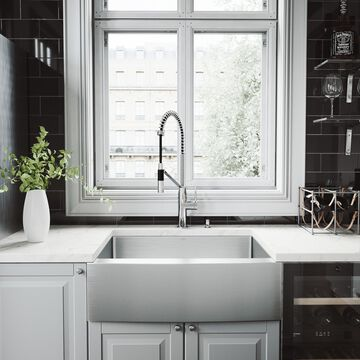 VIGO Bedford Stainless Steel Kitchen Sink Set with Livingston Faucet