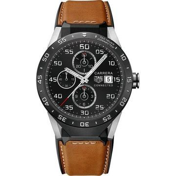 Tag Heuer Men's SAR8A80.FT6070 Connected Smartwatch Android 4.3+ IOS 8.2+ Microphone Brown Leather Watch