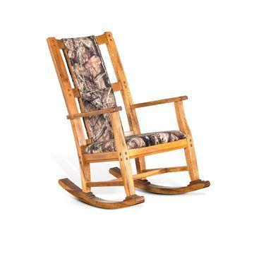 Sedona Rustic Oak Rocker, Mossy Oak Fabric Seat