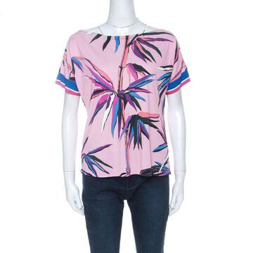 Emilio Pucci Pink Bamboo Print Silk Blend T-Shirt M