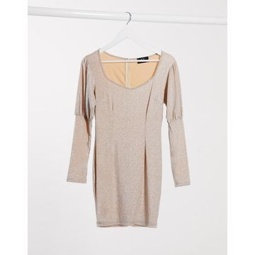 AX Paris puff sleeve mini dress in metallic light pink-Neutral