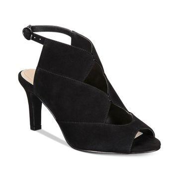 Alfani Womens Nayaah Leather Peep Toe Casual Slingback Sandals