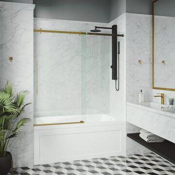 VIGO Luca 57.8125-in H x 56-in to 60-in W Frameless Sliding Matte gold Shower Door (Clear Glass) Stainless Steel | VG6043MGCL6058