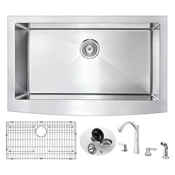 ANZZI Elysian Farmhouse 32 In. Single Bowl Kitchen Sink w/ Soave Fauce
