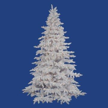 Vickerman Pre-Lit 7.5' Flocked Artificial Christmas Tree, White