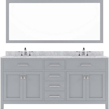 Virtu USA Caroline 72-in Gray Undermount Double Sink Bathroom Vanity with Italian Carrara White Marble Top (Mirror and Faucet Included)