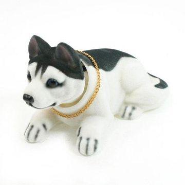 Unique Bargains Metal Chain Husky Nodding Dog Ornament for Car