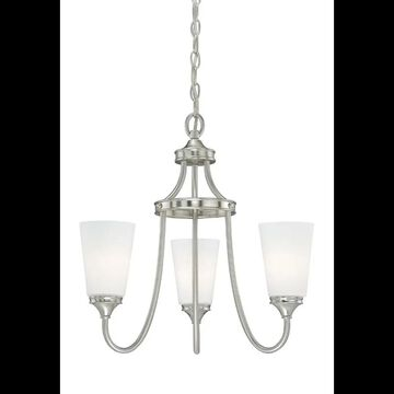 Vaxcel Lighting H0051 Lorimer 3 Light Single Tier Chandelier with Frosted Glass Shades - 19 Inches Wide Satin Nickel Indoor Lighting Chandeliers