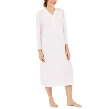 Miss Elaine Brushed Honeycomb Pointelle Knit Solid Long Nightgown