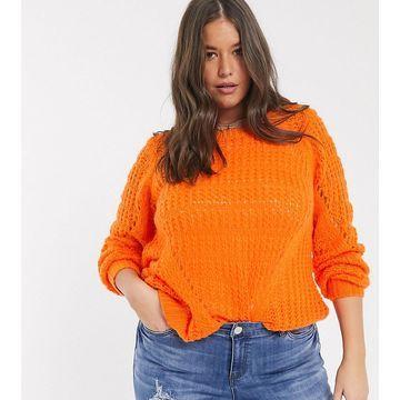 Junarose textured sweater in orange