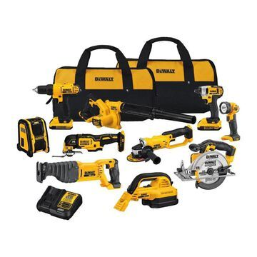 DEWALT 10-Tool 20-Volt Power Tool Combo Kit with Soft Case (2-Batteries and charger Included) | DCK1020D2