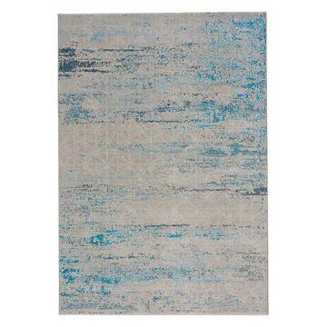 Mason-Lattice Rectangle Machine Woven Rug, Blue, 5'3