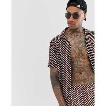 Religion revere collar shirt with geo print in orange and black